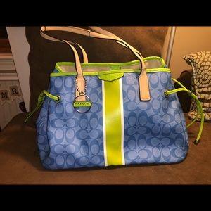 Coach blue & lime green purse